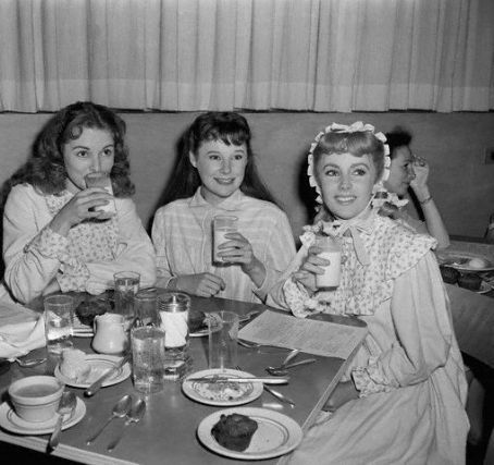Janet Leigh, June Allyson and Elizabeth Taylor on the set of Little Women
