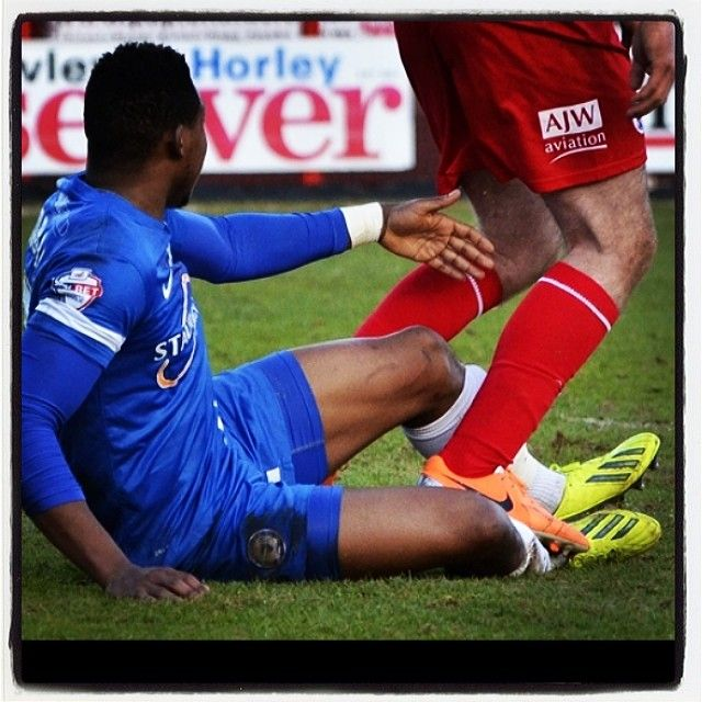 The stamp on Assombalonga missed by the ref #football #soccer #peterborough #crawley #town #united #connolly #assombalonga #stamp #dirty #skybet #league1