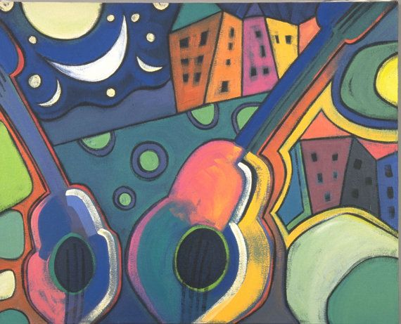 A Little Night Music  original acrylic by pattdalbeystudio on Etsy