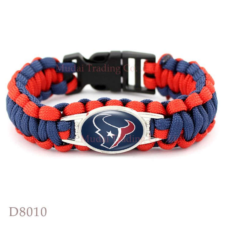 (10 PCS/lot) Houston Football Team Texans Paracord Survival Friendship Outdoor Camping Sports Bracelet Blue Red Cord