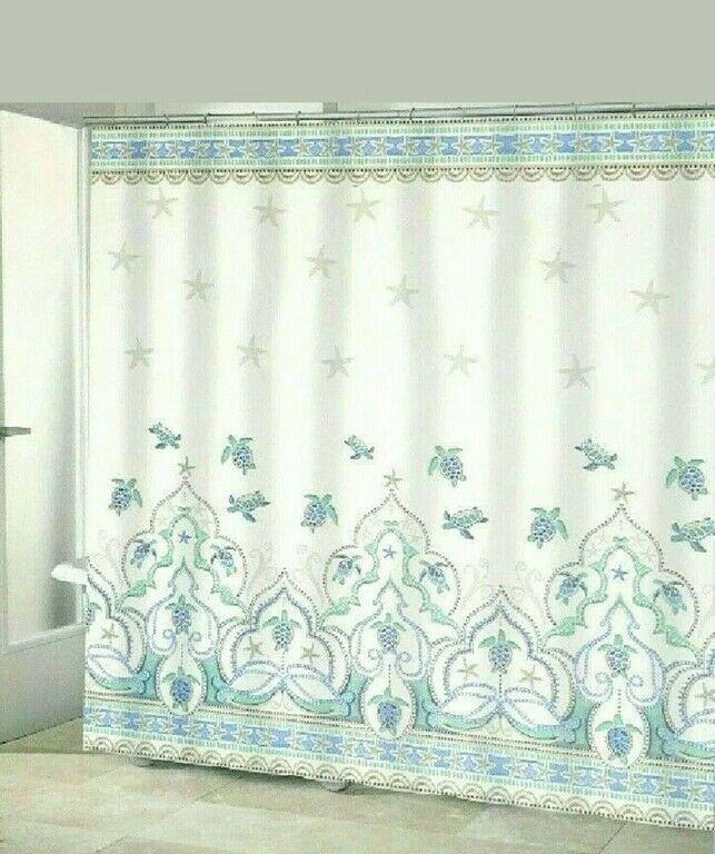 Sea Turtle Fabric Shower Curtain Jewel Tone Coastal Nautical Beach