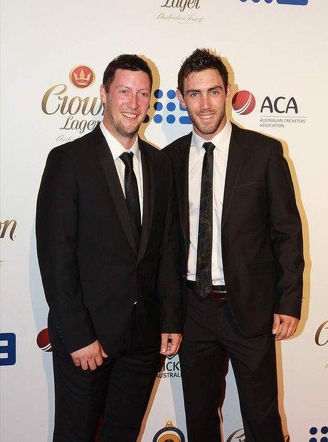 Daniel Maxwell and Glenn Maxwell.  Allan Border Medal awards 2014
