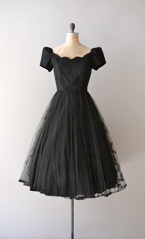 50s dress / black 1950s dress / Solfeggio tulle dress