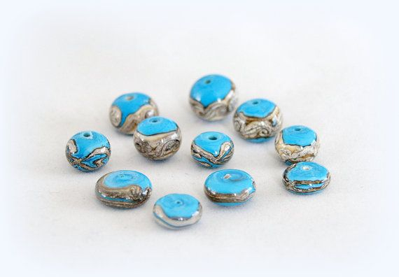 Turquoise and ivory  beads handmade lampwork от Beadjewelryjulia, €15.00