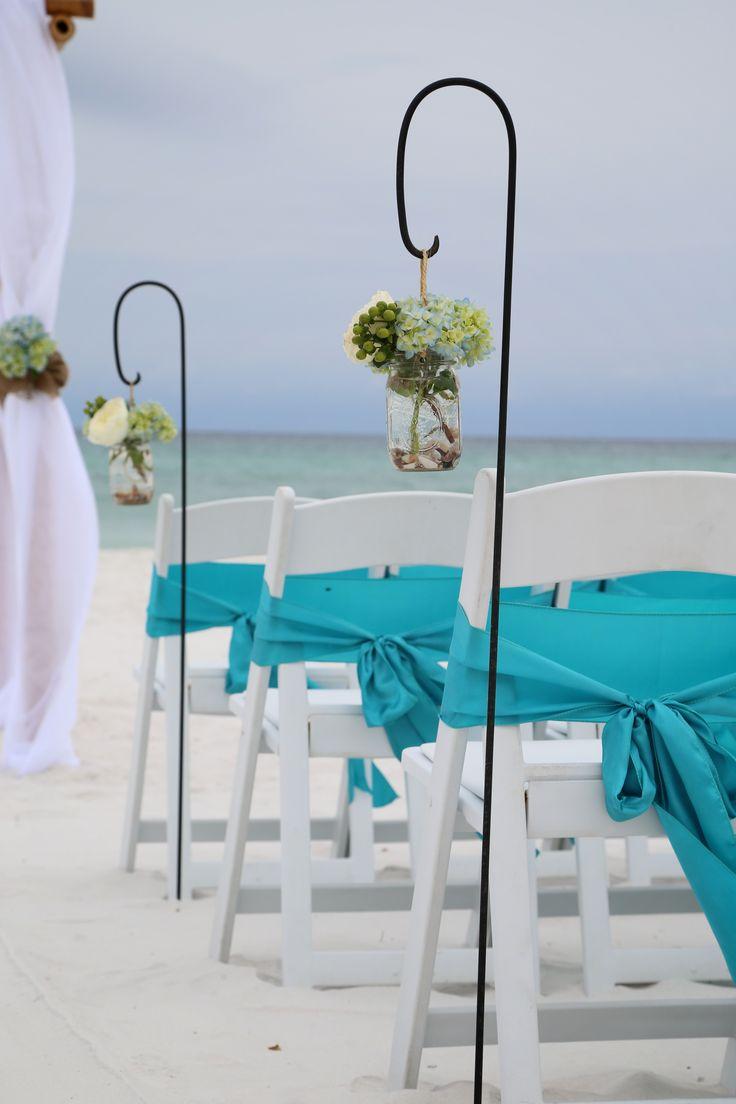 Shepherds Hooks With Hanging Vases Of Fresh Blue Green Hydrangeas Beach Wedding Decoration Ideas