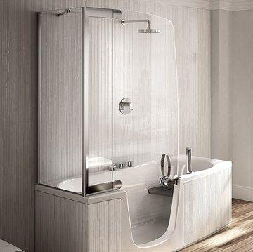 Badekar 382 med indgangsdør og glasvæg.