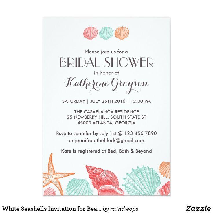 ビーチ結婚式のための白い貝殻の招待状 12.7 X 17.8 インビテーションカード