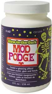glow in the dark Modge Podge. Use for a glow effect for kid parties (Vine Bottle Painting)