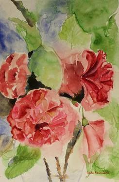 #Hibiscus #Stilllife In #Impressionism Style #watercolour #red #flowers