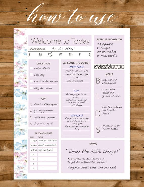 daily planner printable daily organizer by Designsbybiancab