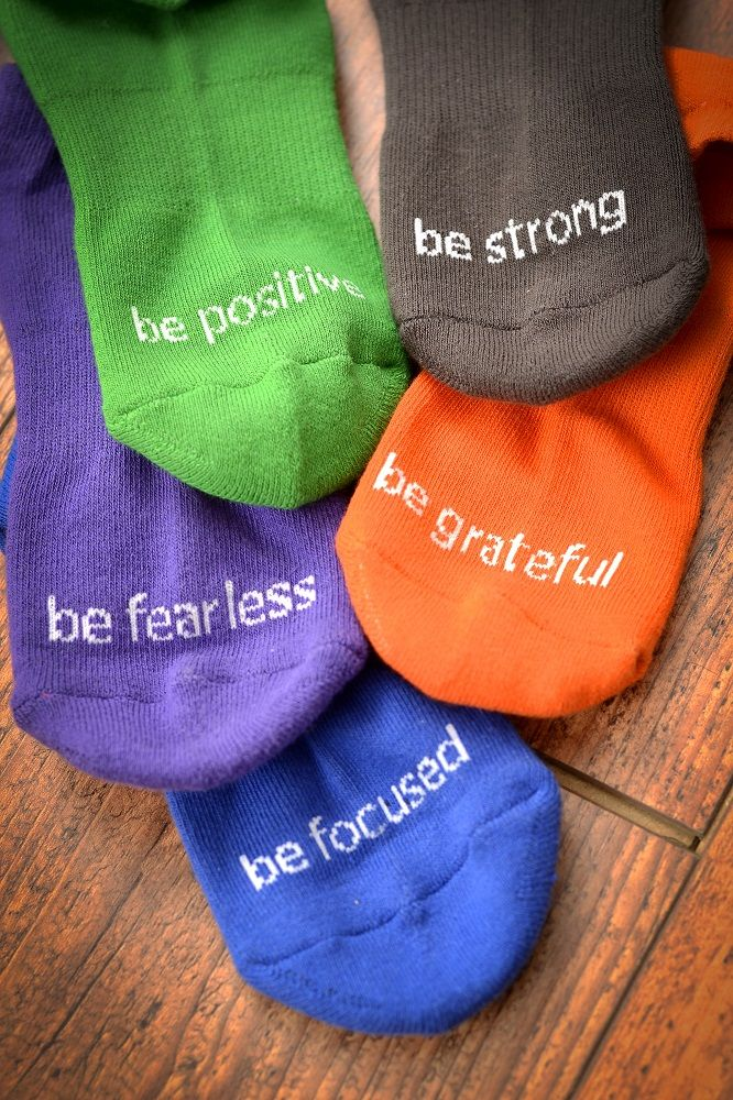 Fitness in style! Sticky Socks with positive affirmation! www.head-to-socks.com…