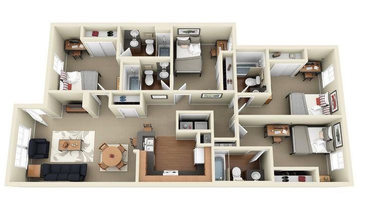 After having covered 50 floor plans each of studios, 1 bedroom, 2 bedroom and 3 bedroom apartments, we move on to bigger options. A four bedroom apartment or house can provide ample space for the average family. With plenty of square footage to include master bedrooms, formal dining rooms, and outdoor spaces, it may even be …