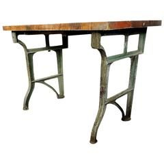 Antique American Industrial Factory Work Table