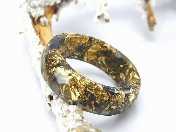 Anillo apilador de resina Anillo de oro con forma de floco de