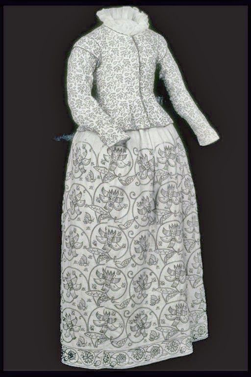Linen jacket embrodered with black wool, dated 1610-1620 and  skirt in fustian dated 1621-1640.