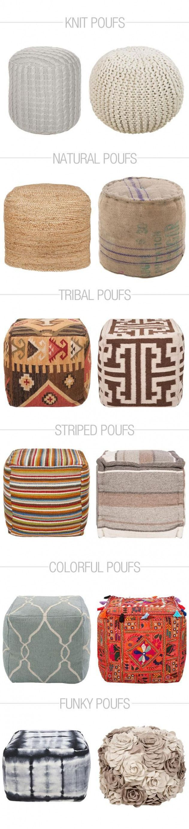 Give your living room a unique twist with one of these Pouf Ottomans. #livingroo…