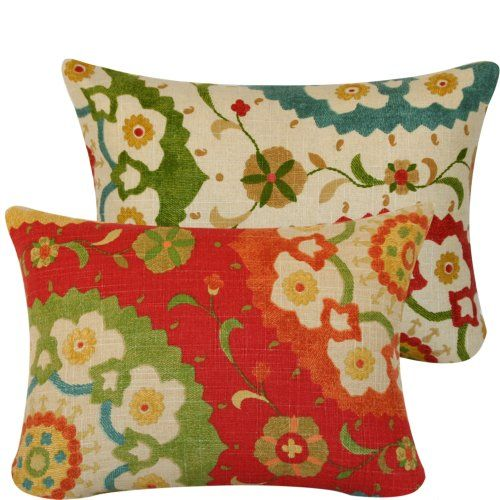 ($35.00) Fiesta Infusion Collection - Richloom Cornwall Designer Boutique 12x16 Boudoir/travel Accent Throw Pillow Covers - Flowers, Circles and Leaves - Gold, Tan, Teal, Rose, Golden Ochre, Olive, Orange and Red Hues - 1 Pillow Cover From Chloe