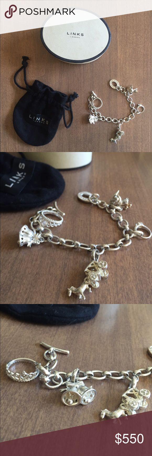 Venture mens black leather bracelet men bracelets links of london - Flash Sale Rare Links Of London Charm Bracelet Nwt