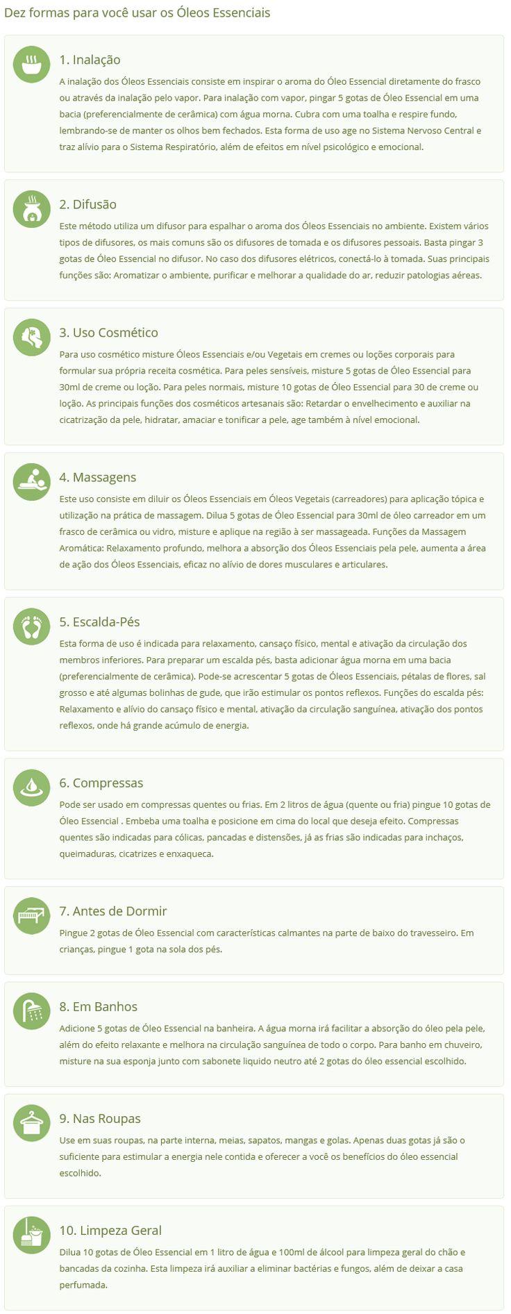 Modos de uso dos óleos essenciais - tunupa.com.br
