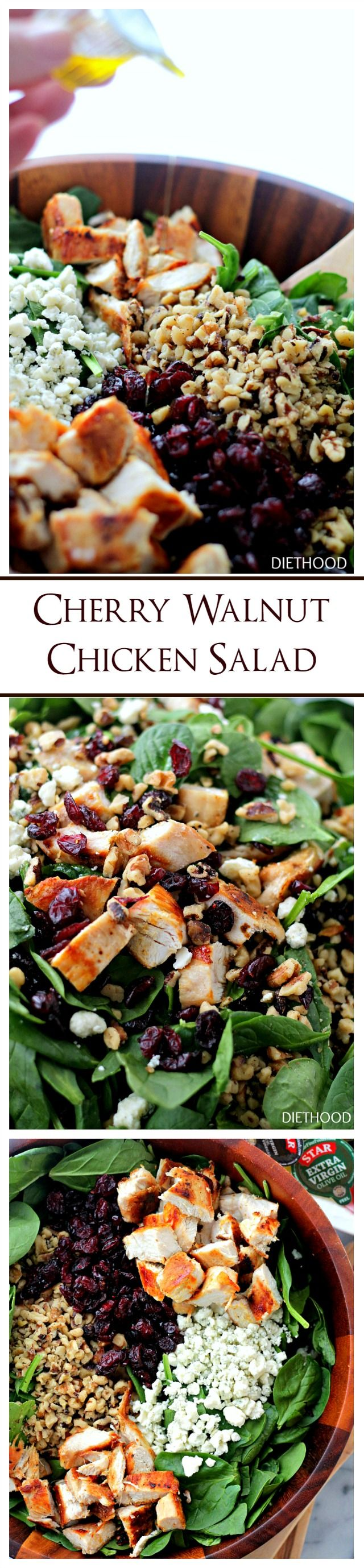 Cherry Walnut Chicken Salad   www.diethood.com   Delicious chicken salad featuring a combination of dried cherries, walnuts and baby spinach tossed with a simple oil-and-vinegar dressing.