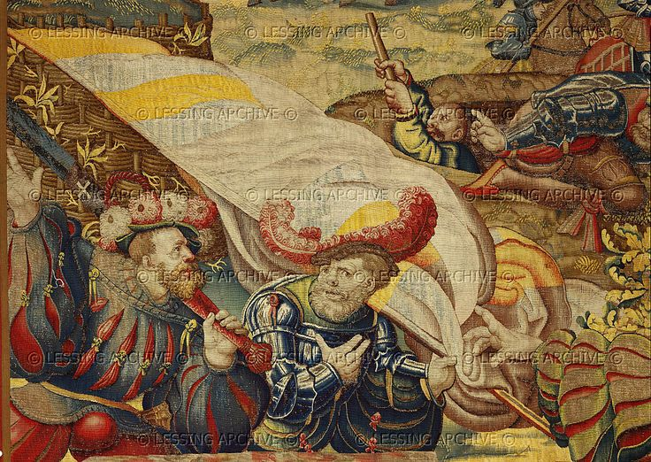 Orley,Bernaert (1492-1542) Seven large tapestries illustrate the Battle of Pavia in 1525,in which Emperor Charles V.defeated French King Francois I. Fleeing Swiss mercenaries with flag.