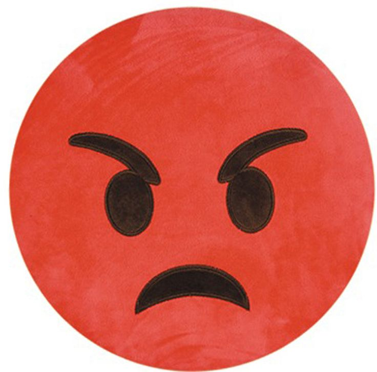 Emoji Series Expression Angry Face Cotton Throw Pillow