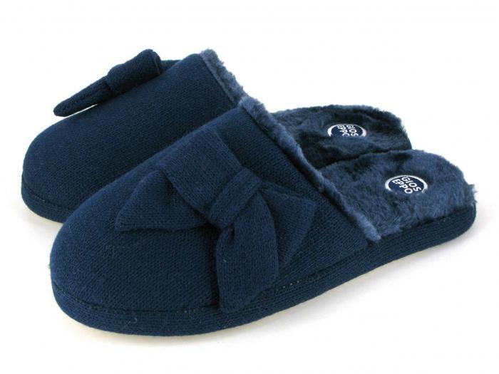 Zapatillas de casa de mujer sin talón de lana e interior de pelito. Corte, planta e interior en textil.