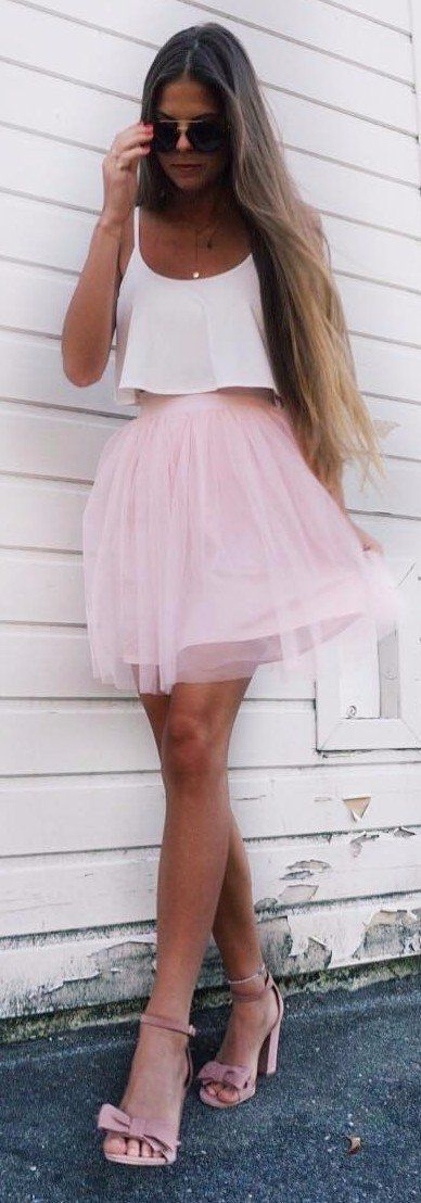 all pastel everything tulle skirt crop top