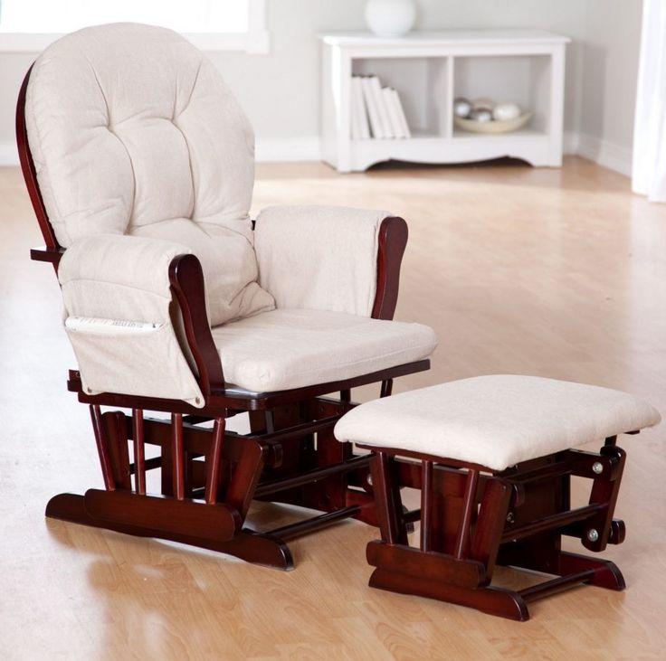 Glider Rocker Chair Baby Furniture Rocking Ottoman Nursery Set Wood ...