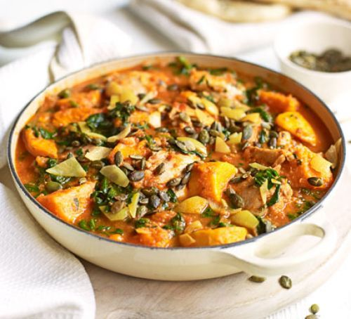 Spiced chicken, spinach & sweet potato stew