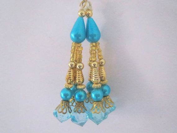 turquoise Blue Golden Glass Bead Traditional by CraftyJaipur