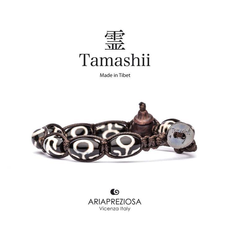 """Tamashii - Serie Speciale BkraShi realizzato con pietre naturali Onice con disegno tradizionale a mano dal significato """"RISPETTO"""""""