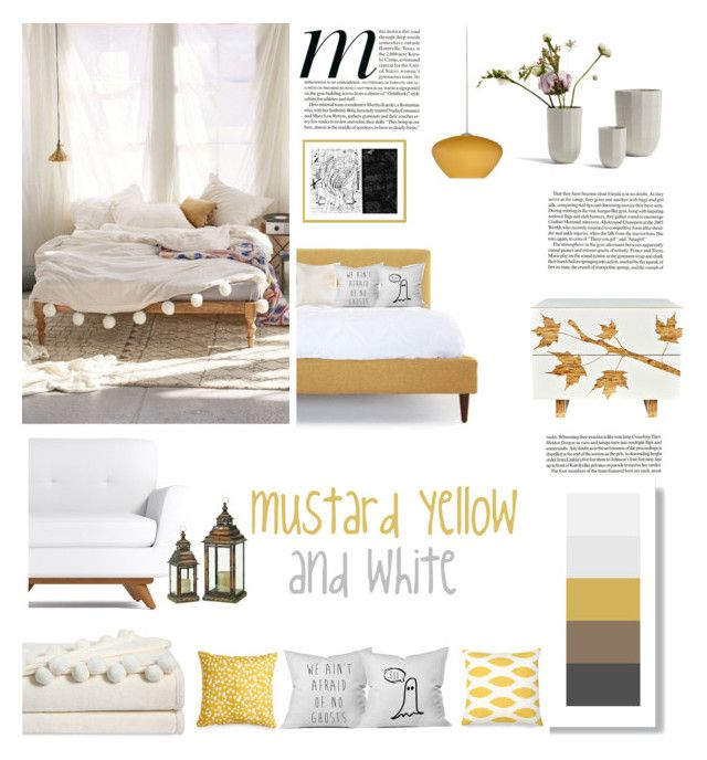 mustard yellow and white by levai-magdolna on Polyvore featuring interior, interiors, interior design, home, home decor, interior decorating, Iannone Design, Besa Lighting, VCNY and Scribble