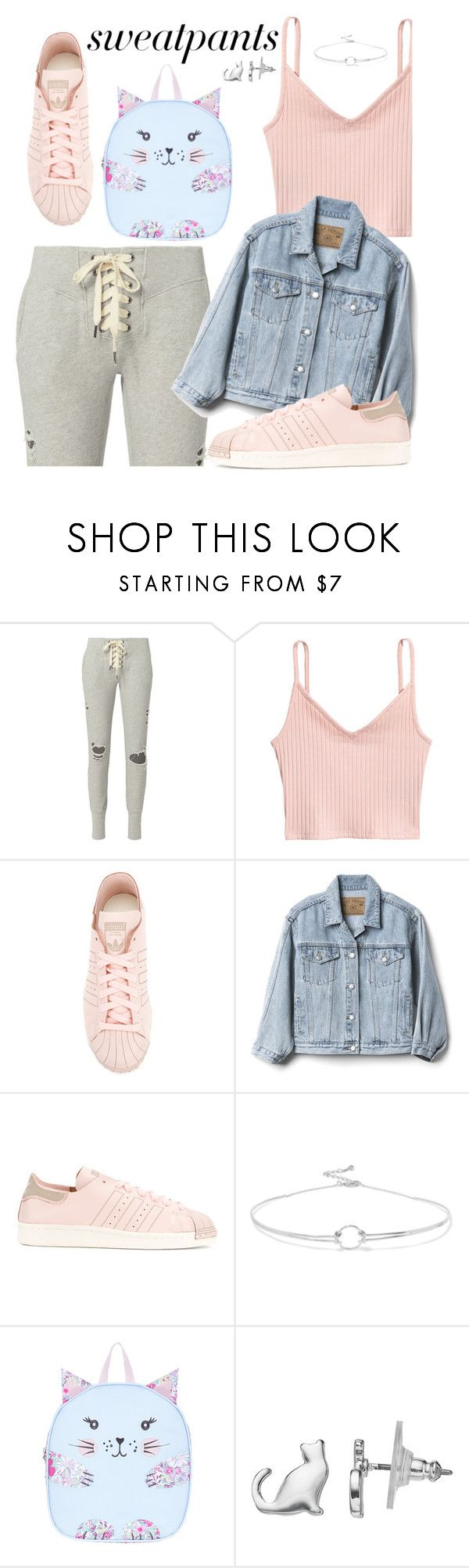 """""""Untitled #76"""" by genovefa1567 ❤ liked on Polyvore featuring NSF, H&M, adidas, Gap, Noir Jewelry, Monsoon, LC Lauren Conrad and sweatpants"""