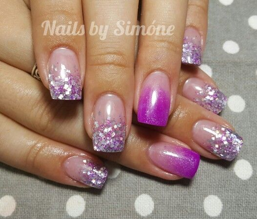 Silver and Purple Glitter Fade Acrylic Nails | Nails by ...