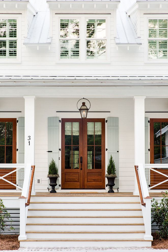The front doors are Fir Wood French doors. The brand is Tucker. The door stain color is Early American by Minwax