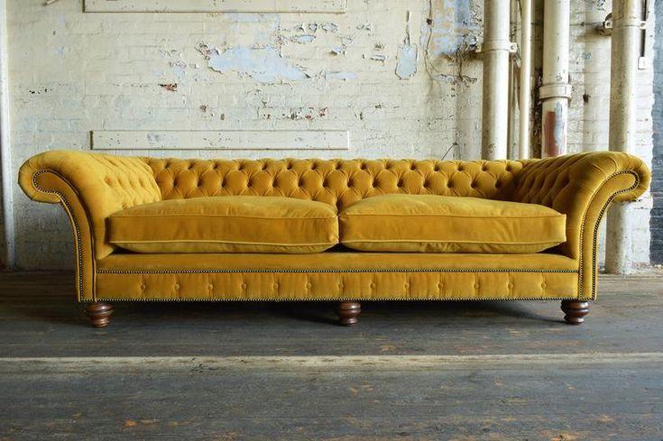 Unique British Handmade Velvet 4 Seater Chesterfield Sofa Reflex Cushion Seat Mustard In 2021 Victorian Sofa Velvet Furniture Vintage Sofa