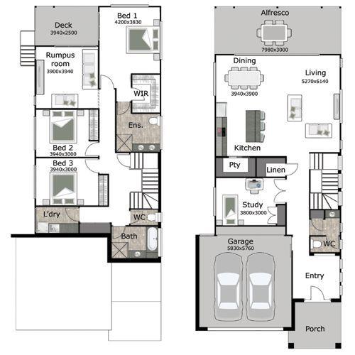 26 Best Small/Narrow Plot House Plans Images On Pinterest