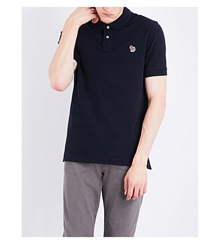 PS BY PAUL SMITH Zebra-Embroidered Cotton-Pique Polo Shirt. #psbypaulsmith #cloth #tops & t-shirts