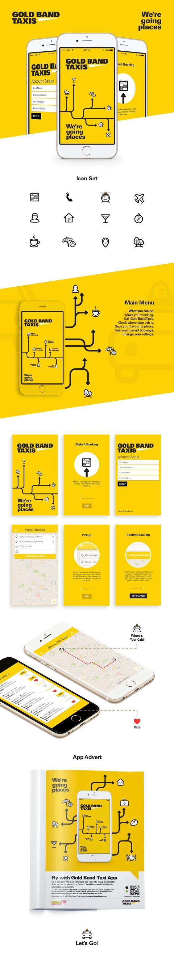 Gold Band Taxis iOs & Android App for booking taxis | Designed & developed by @studiopublica: