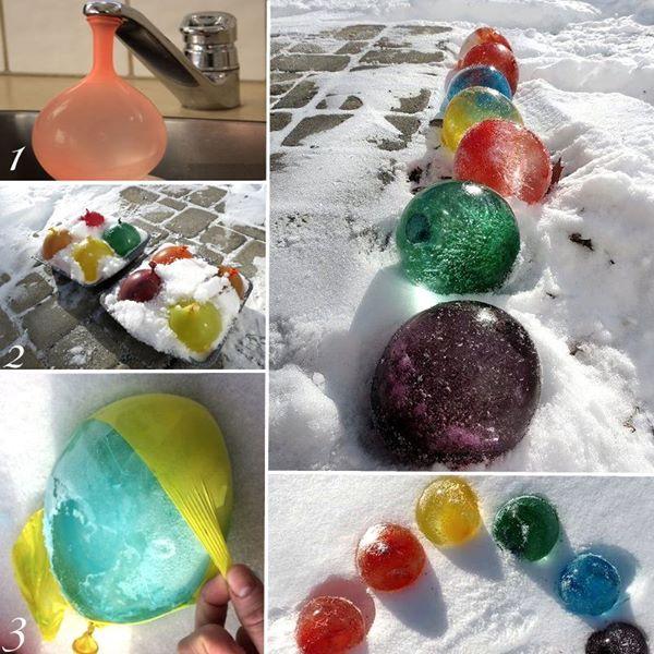 Je vous ai trouvé un super DIY à réaliser ce WE si vous avez de la neige et qu'il gèle bien. Vous réaliserez des ballons de glace de toutes les couleurs !