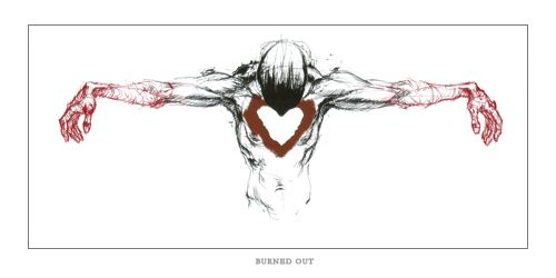 """""""Burned Out"""" by Derek Hess.  This is a signed and numbered offset print edition of 300  - 14"""" x 28""""."""
