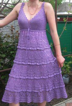 Free Crochet Dress Patterns for Women   Purple Dress free crochet graph pattern #LetsSew