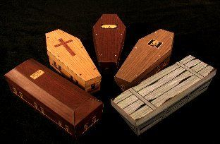 """These 6"""" coffin boxes feature realistic wood textures, satin lined interiors,  authentic hardware and your choice of several decorations for the lids. free printout for all styles"""