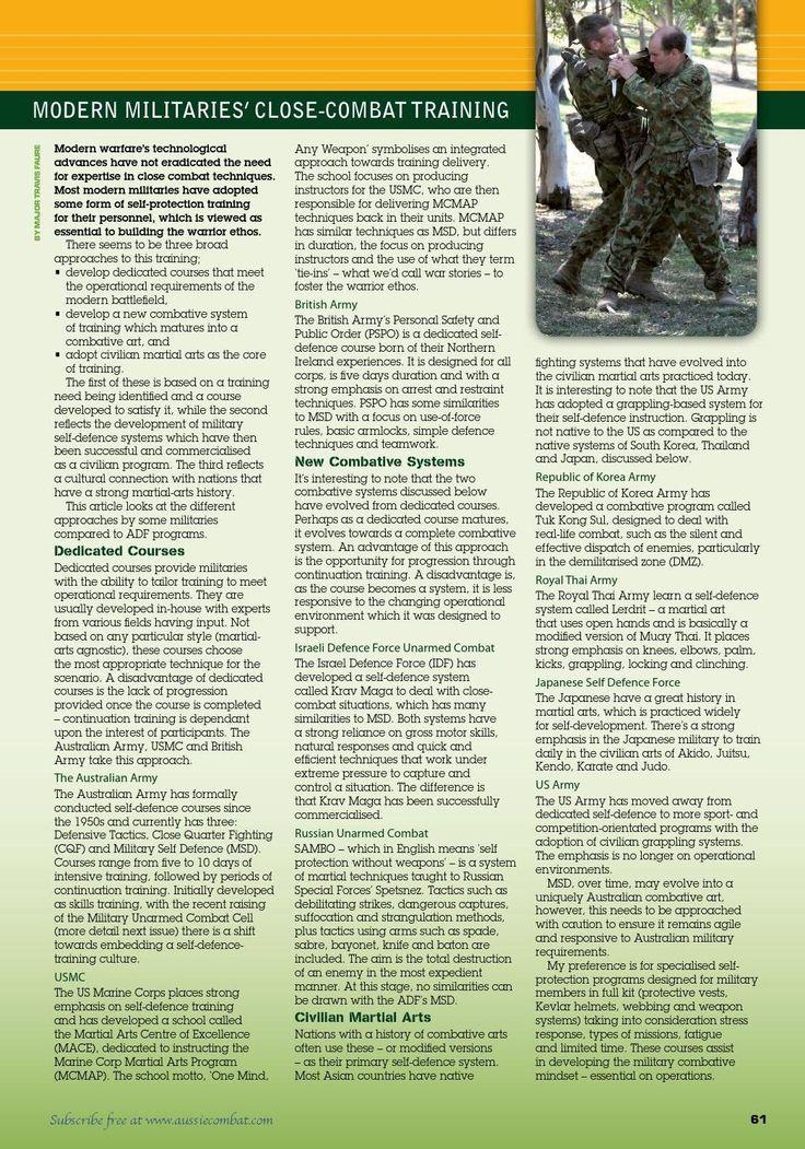 Modern militaries' close combat training - September 2006