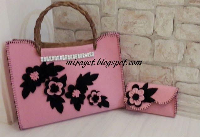 mirayet.blogspot.com: pembe keçe çanta