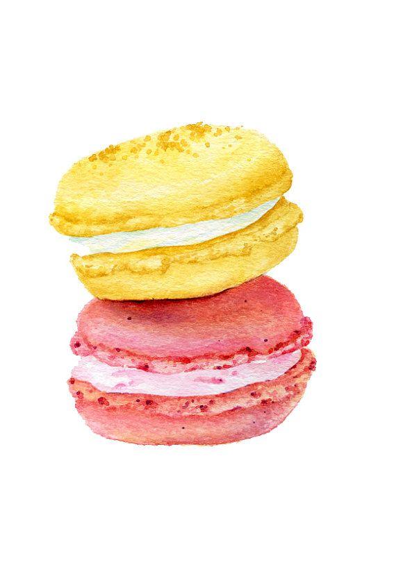 ORIGINAL Painting  Macarons Sweet Food por ForestSpiritArt en Etsy, £20.00