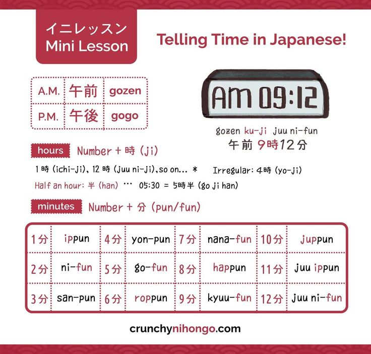 """easy-japan:"""" Today we'll be learning how to tell the time in Japanese!The fo…"""