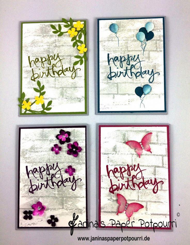 jpp - Wall-Art Birthday Cards / Geburtstagskarten / Mauer / Luftballon / Mini Balloon / Stampin' Up! Berlin / Watercolor Words / Watercolor Wash / Brick Wall / Ziegel Prägefolder / Party Punch / eleganter Schmetterling / kleine Blüte