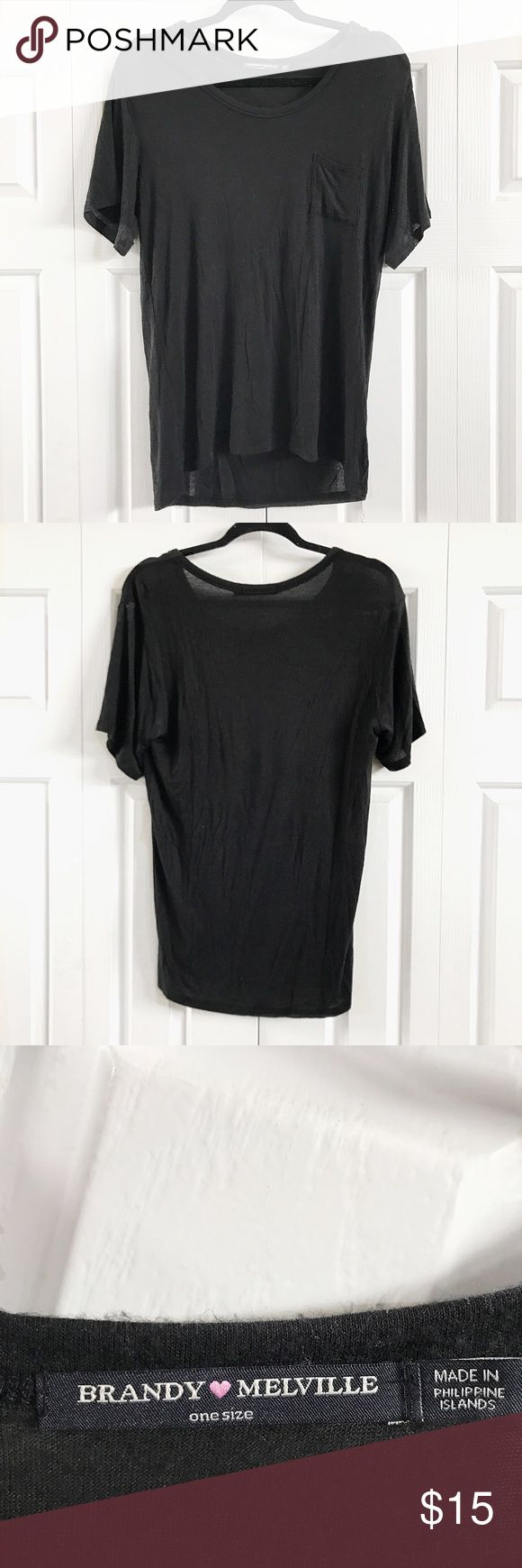 •• Brandy Melville T-shirt This super soft Brandy t-shirt would go great with anything! It has only been worn a couple times and is in great condition.                                                                  •No Trades•                                                                          •I do accept reasonable offers•                                            •Ships between 1-2 days• Brandy Melville Tops